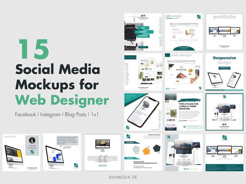 Social Media Mockups for Web Designer